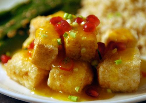 tofu orange flavored fried tofu crispy sweet and sour tofu soy tofu in ...